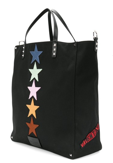 Valentino Canvas Patch Studded Tote in Black Image 2