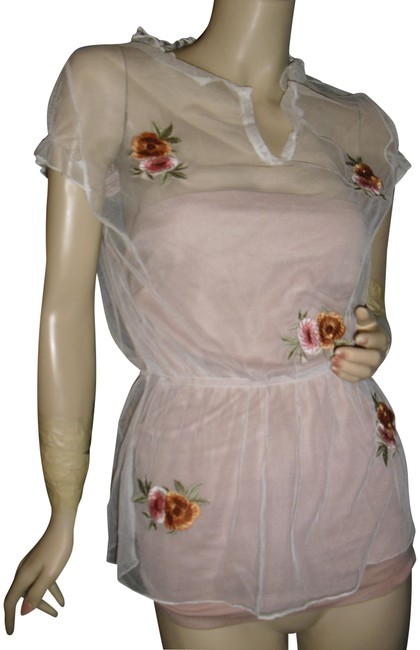 Preload https://img-static.tradesy.com/item/23406574/made-in-france-white-tulle-french-salmon-floral-embroidery-see-through-ruffled-puff-tunic-size-8-m-0-1-650-650.jpg