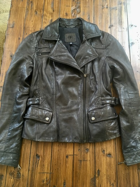 Banana Republic Distressed Leather Motorcycle Jacket Image 4