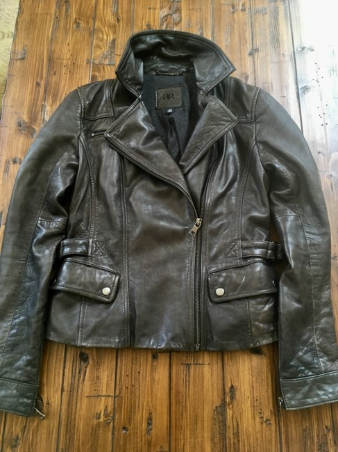 Banana Republic Distressed Leather Motorcycle Jacket Image 5