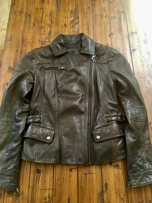 Banana Republic Distressed Leather Motorcycle Jacket Image 6