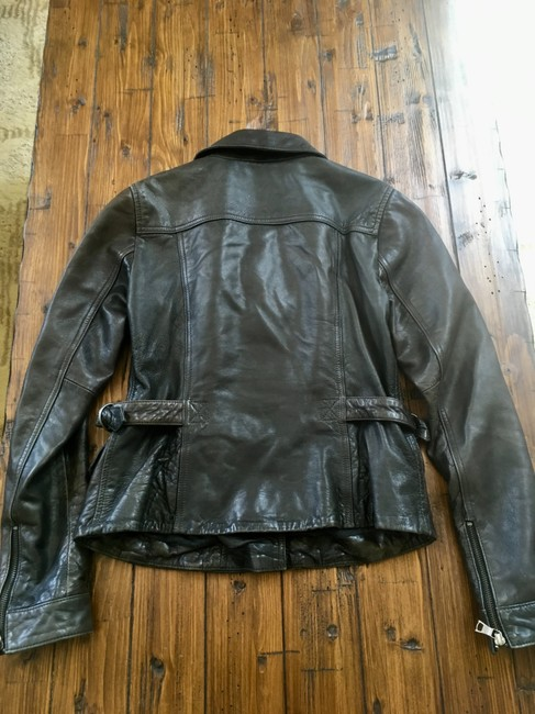 Banana Republic Distressed Leather Motorcycle Jacket Image 7