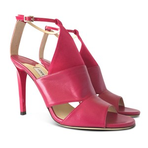 Jimmy Choo Leather Open Toe Stiletto Ankle Strap Pink Sandals