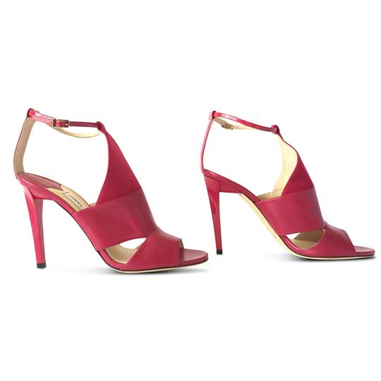 Jimmy Choo Leather Open Toe Stiletto Ankle Strap Pink Sandals Image 3