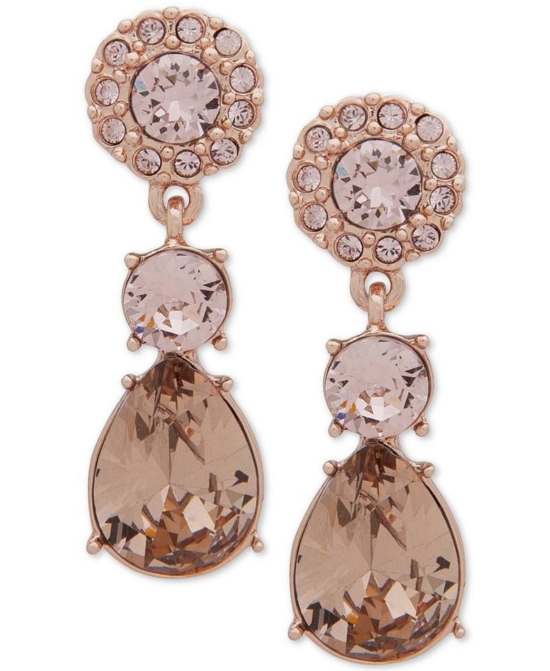 Givenchy Gold Swarovski Crystal Y Frontal Necklace Earrings