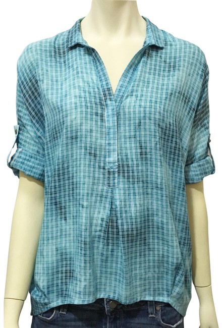 Preload https://img-static.tradesy.com/item/23406660/holding-horses-blue-plaid-small-tie-dye-pop-over-button-down-top-size-6-s-0-1-650-650.jpg