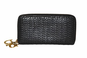 Dior Dior Black Woven Lambskin Leather Wallet