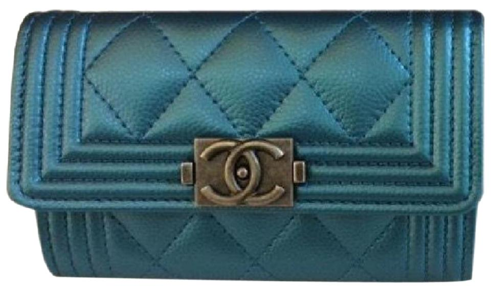 Chanel Metallic Turquoise Blue Boy Wallet Card Holder Wallet - Tradesy a0896b3475638
