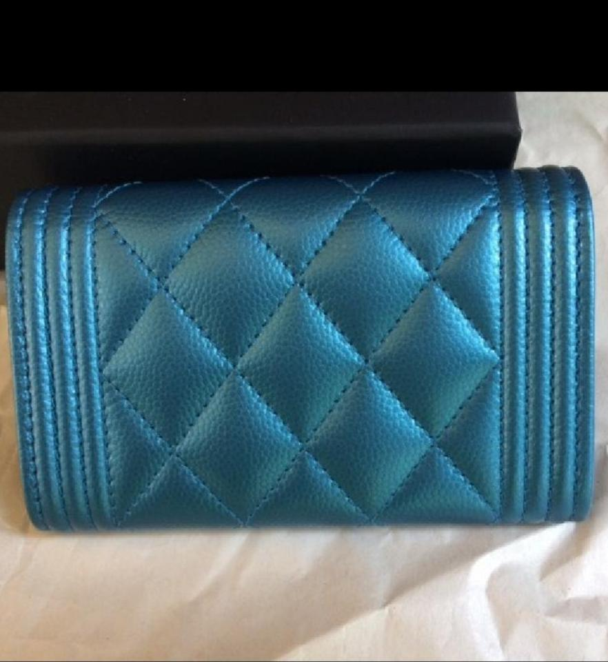 c987282c6e95 Chanel Metallic Turquoise Blue Boy Wallet/Card Holder Wallet - Tradesy