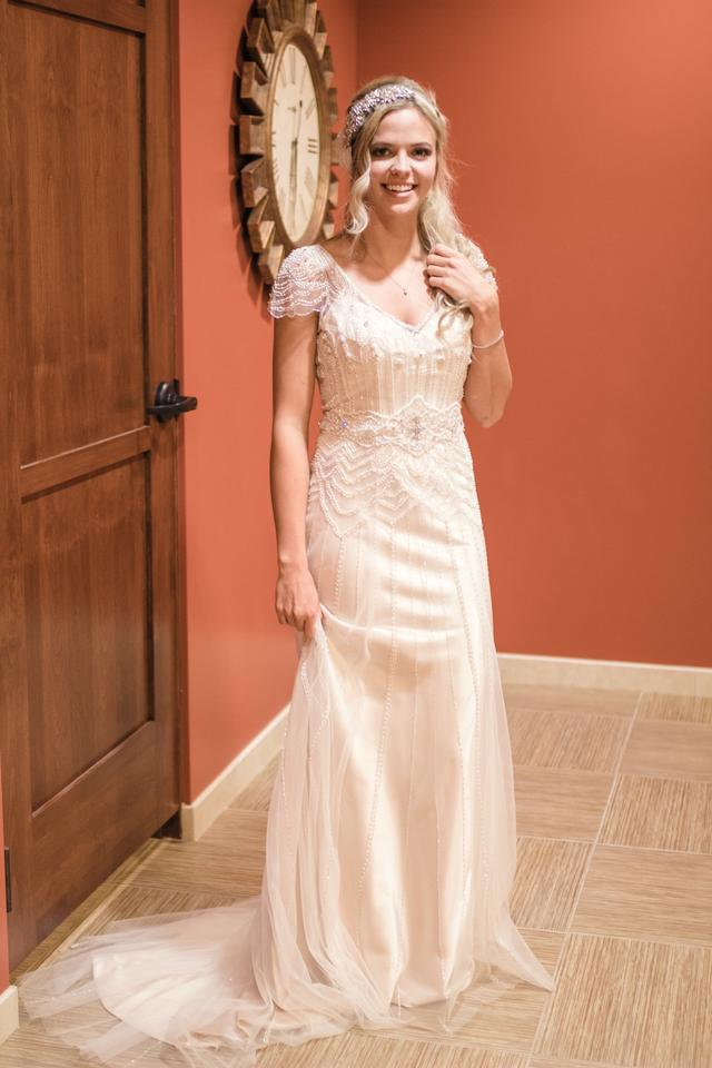 0f3099f5374 Maggie Sottero Champagne Satin and Tulle Overlay Ettia Vintage Wedding Dress