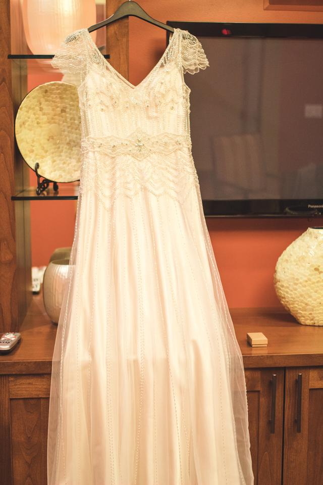1044657a00f Maggie Sottero Champagne Satin and Tulle Overlay Ettia Vintage Wedding Dress  Size 4 (S). 1234