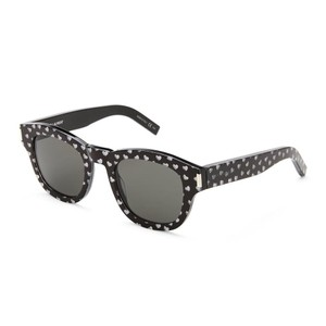 Saint Laurent Saint Laurent Black Bold2 Heart Print Round Sunglasses