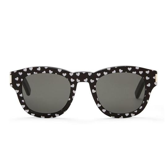 Saint Laurent Saint Laurent Black Bold2 Heart Print Round Sunglasses Image 1