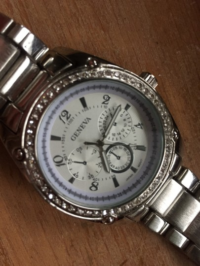 Bloomingdale's Silver Pave rhinestone studded Halo Surround Menswear Chunky Watch Image 6