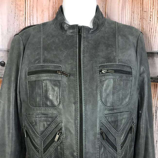BCBGMAXAZRIA Gray Leather Jacket Image 1