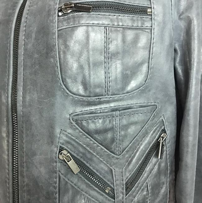 BCBGMAXAZRIA Gray Leather Jacket Image 2