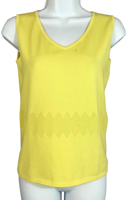 Preload https://img-static.tradesy.com/item/23407338/escada-yellow-sleeveless-blend-knit-blouse-36-tank-topcami-size-4-s-0-1-650-650.jpg
