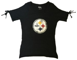 Touch by Alyssa Milano Steelers Football Sporty T Shirt Black