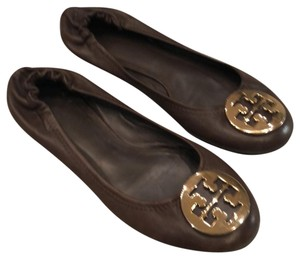Tory Burch Brown and Gold Flats