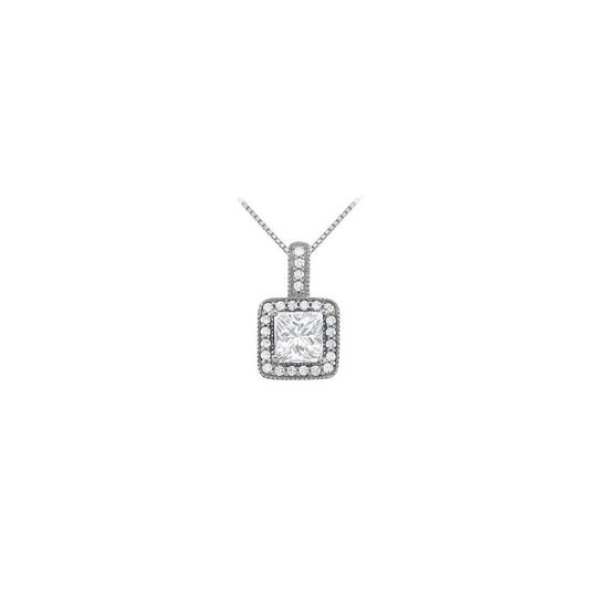 Marco B April Birthstone Cubic Zirconia Square Halo Pendant in 14K White Gold Image 0