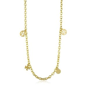 Tory Burch Logo Charm Rosary Necklace