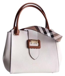 Burberry Business Buckle Tote in White