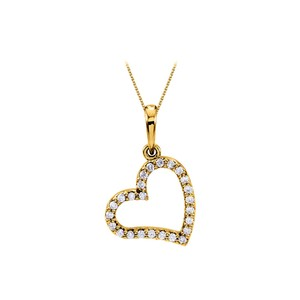 Marco B Awesome Diamond Heart Pendant in 14K Yellow Gold with Amazing Design a