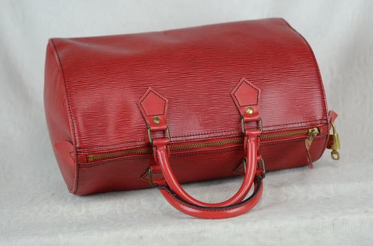 LOUIS VUITTON Epi Speedy Leather Tote in Red Image 10