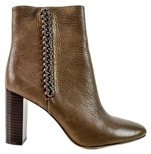 Coach Ankle Leather Zipper Tumbled Brown Boots