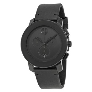 Movado Bold Chronograph Black Dial Date Men's Leather Watch