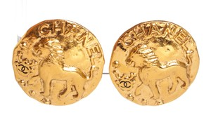 Chanel Chanel Gold CC Lion Large Disc Clip On Earrings