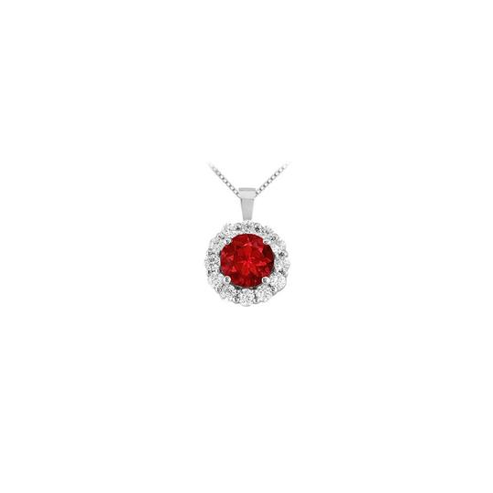 Preload https://img-static.tradesy.com/item/23407868/red-white-gold-created-ruby-and-cubic-zirconia-circle-pendant-14k-150-ct-necklace-0-0-540-540.jpg