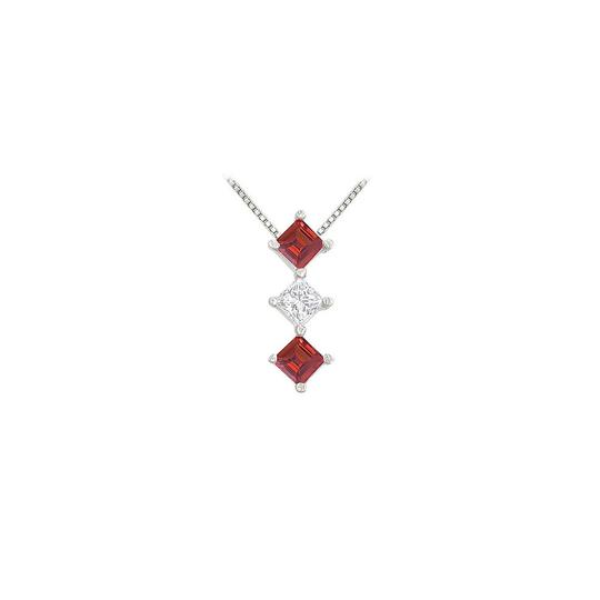 Preload https://img-static.tradesy.com/item/23407895/red-white-gold-created-ruby-and-cubic-zirconia-pendant-14k-100-ct-tgw-necklace-0-0-540-540.jpg