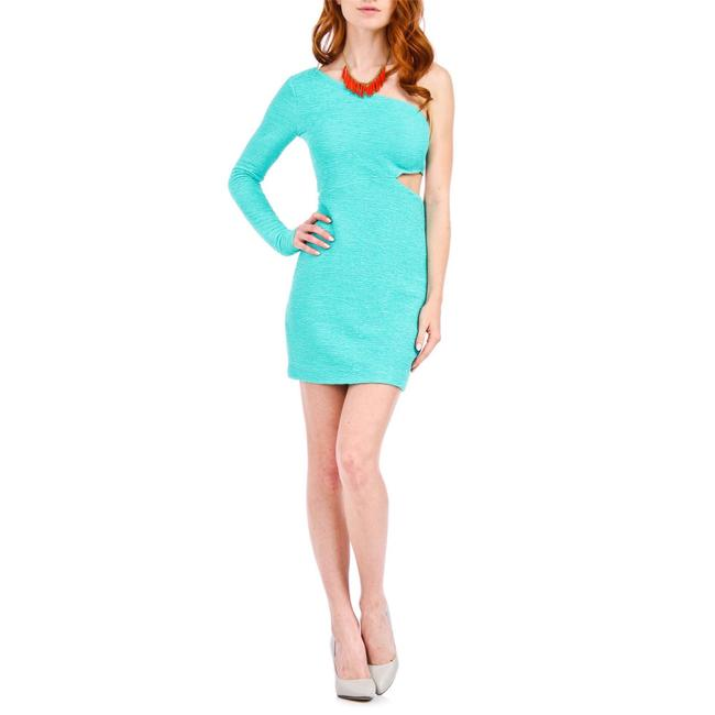 Item - Mint Green One Shoulder Long Sleeve Cutout Textured Bodycon Short Cocktail Dress Size 8 (M)