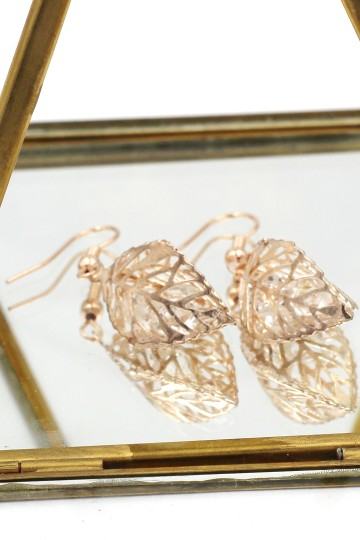 Ocean Fashion Hollow Crystal Leaf Earring Necklace Set Image 10