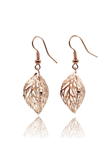Ocean Fashion Hollow Crystal Leaf Earring Necklace Set Image 2
