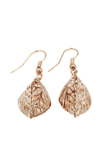 Ocean Fashion Hollow Crystal Leaf Earring Necklace Set Image 7