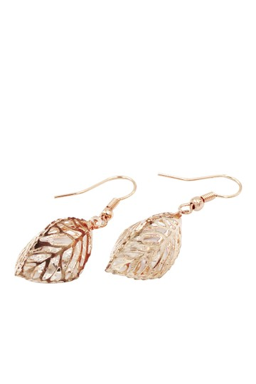 Ocean Fashion Hollow Crystal Leaf Earring Necklace Set Image 8