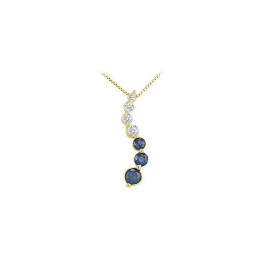 Preload https://img-static.tradesy.com/item/23407985/blue-yellow-gold-created-sapphire-and-cubic-zirconia-journey-pendant-14k-1-necklace-0-0-540-540.jpg