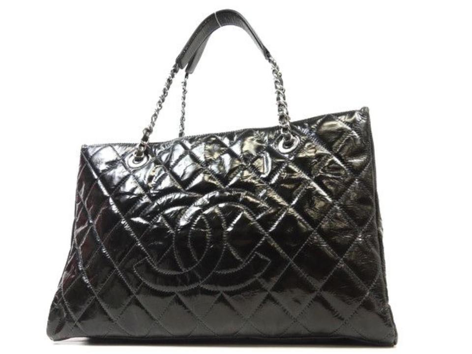 8c48ffb30a83 Chanel Quilted Grand Shopper Tote 228284 Black Patent Leather ...