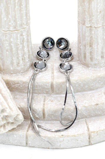 Ocean Fashion Silver Exaggerated tassels round crystal earrings Image 2