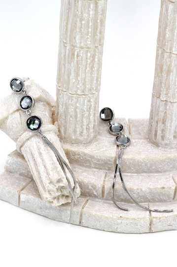 Ocean Fashion Silver Exaggerated tassels round crystal earrings Image 4