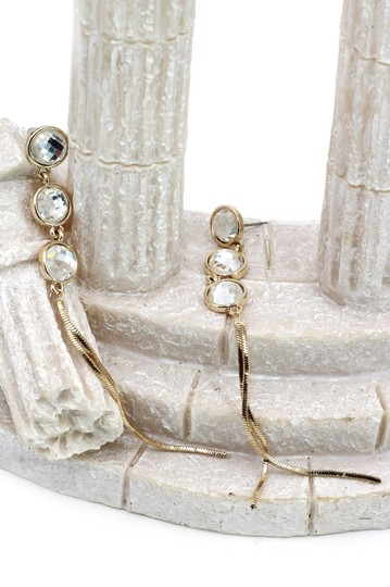 Ocean Fashion Gold Exaggerated tassels round crystal earrings Image 3