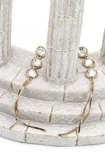 Ocean Fashion Gold Exaggerated tassels round crystal earrings Image 4