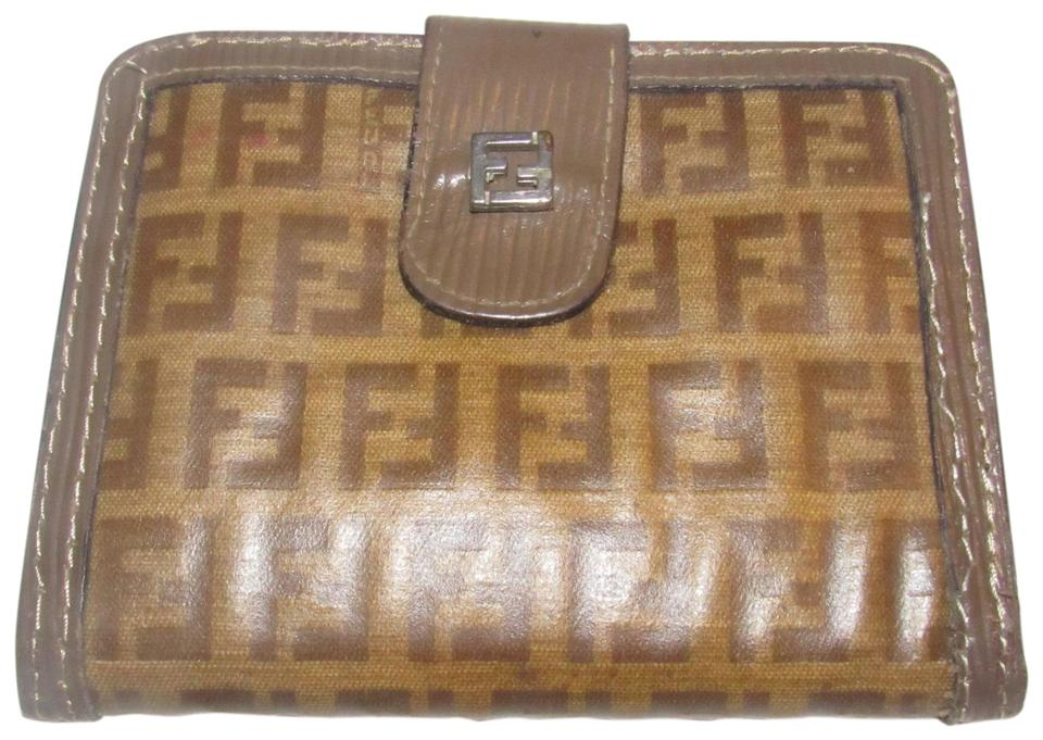 fada3faee1 Fendi Dark Brown Small F Logo Print Coated Canvas and Textured Brown  Leather Vintage Wallet/Designer Wallet