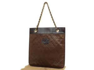 Chanel Sac Plat Shopper Gst Flat Pst Tote in Brown
