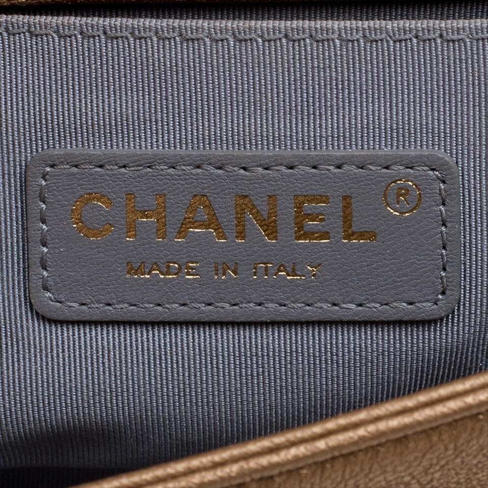 9c64b4cd56c7ad Chanel Classic Flap Boy Bronze Cutout Small Gold Leather and Fabric  Shoulder Bag - Tradesy