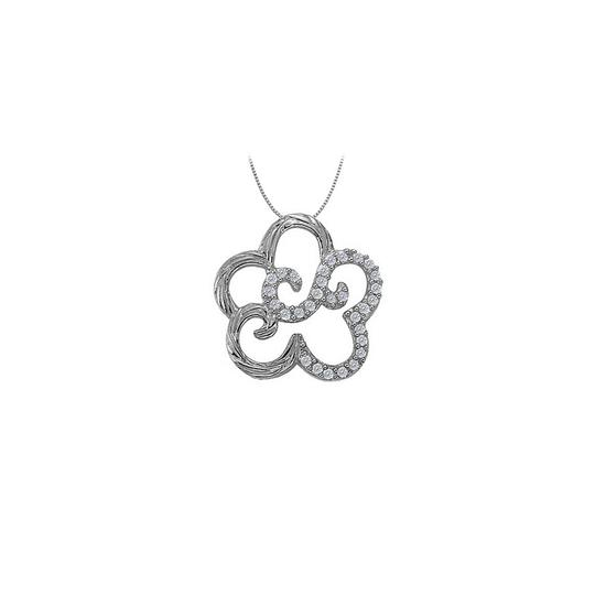Marco B Cubic Zirconia Flower Shaped Pendant in 14K White Gold 0.25 CT TGWJewe Image 0