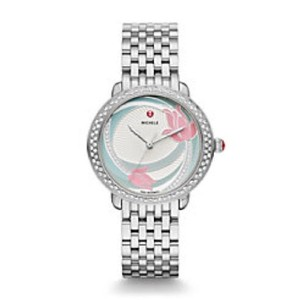 Michele $2200 NWT ' Serein 16 ' Mid Diamond, Flower Diamond Watch MWW21B000142