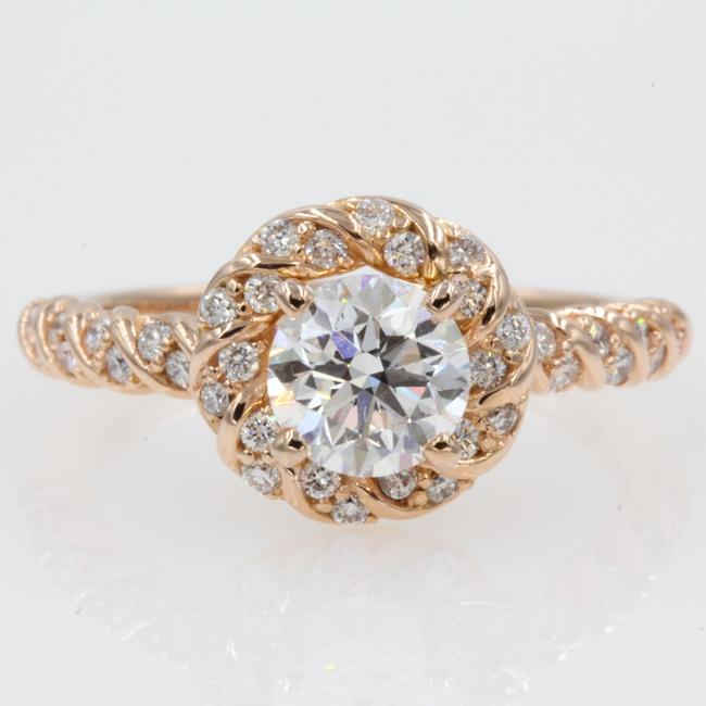 Rose Gold 1.25 Carat Round Halo 14k Solid Engagement Ring Rose Gold 1.25 Carat Round Halo 14k Solid Engagement Ring Image 1